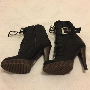 Black High Heel Lace-up Boots